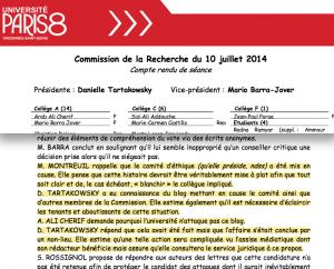 Danielle Tartakowsky, Présidente de l'université Paris 8, répond à Ali Cherif, membre du Conseil scientifique, qui lui suggère de déposer plainte contre le blog Archéologie du copier-coller.