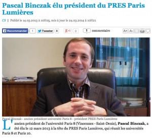 """Pascal Binczak, président de Paris-8 (2006-2012), puis président du PRES, (aujourd'hui COMUE) """"Paris Lumières"""" (Paris-8 + Paris-10). Sa gestion désastreuse des thèses-plagiaires et  des enseignants-plagiaires a suscité un grand discrédit sur l'université Paris-8 et l'ensemble de ses enseignants-chercheurs. (Photo EducPros.fr)"""
