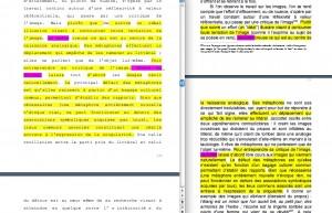 Philippe Jaccottet, alias André du Bouchet : à droite, le mémoire de licence de Mathilde Vischer (Université de Genève, 1999) ; à gauche, la thèse d'A. C., rédigée sous la direction d'Olivier Soutet, soutenue à Paris-Sorbonne en 2013.