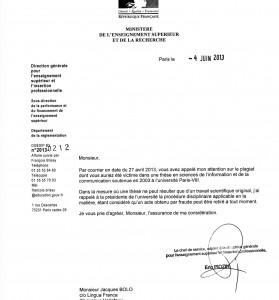 Ministère : courrier d'Éric Piozin à Jacques Bolo. Affaire suivie par François Brissy.