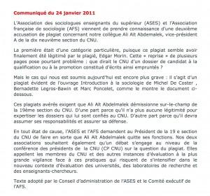 """En janvier 2011, les sociologues """"fait-diversiaient"""" ! Yves Jeanneret et les membres de la 71e section du CNU, plutôt que couvrir un enseignant-plagiaire, auraient pu, de novembre 2011 à novembre 2015, s'inspirer de l'attitude éthique de leurs collègues sociologues."""